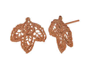 18ct Rose Gold Vermeil Lace Leaf Stud Earrings