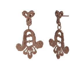 18ct Rose Gold Vermeil Lace Double Drop Earrings