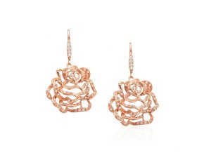 Sterling Silver & Rose Gold Vermeil Stone Set Medium Rose Drop Earrings