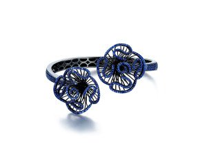 Sterling Silver Black Rhodium Vermeil & Blue stone Cascade Bangle