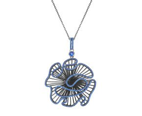 Sterling Silver Black Rhodium Vermeil & Blue stone Cascade Large Pendant