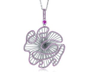 Sterling Silver & Pink Stone Cascade Large Pendant