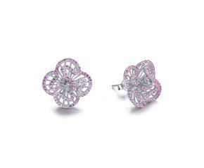 Sterling Silver & Pink Stone Mini Cascade Stud Earrings