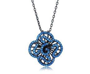 Sterling Silver Black Rhodium Vermeil & Blue Stone Mini Cascade Pendant