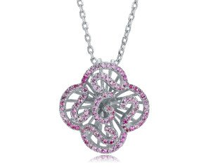 Sterling Silver & Pink Stone Mini Cascade Pendant