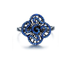 Sterling Silver Black Rhodium Vermeil & Blue Stone Mini Cascade Ring