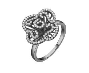 Sterling Silver & Black Rhodium Vermeil Mini Cascade Ring