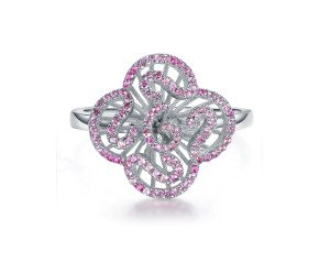 Sterling Silver & Pink Stone Mini Cascade Ring