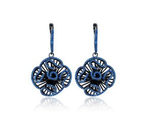Sterling Silver Black Rhodium Vermeil & Blue Stone Cascade Stud Drop Earrings