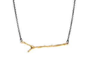 Black Rhodium & 18ct Yellow Gold Vermeil Twig Necklace