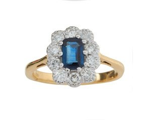 18ct Gold 0.58ct Sapphire & Diamond Cluster Ring