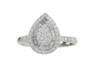 18ct White Gold 0.66ct Diamond Pear Shape Cluster Ring