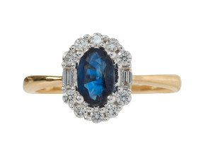 18ct Gold 0.57ct Sapphire & Diamond Cluster Ring