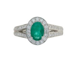 18ct White Gold 0.68ct Emerald & Diamond Halo Ring