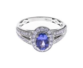 18ct White Gold 0.70ct Tanzanite & Diamond Halo Ring