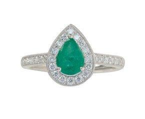 18ct White Gold 0.73ct Emerald & Diamond Halo Ring