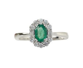18ct White Gold 0.36ct Emerald & Diamond Cluster Ring
