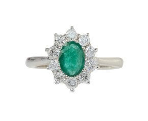 18ct White Gold 0.51ct Emerald & Diamond Cluster Ring