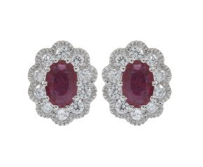 18ct White Gold 0.85ct Ruby & Diamond Cluster Earrings