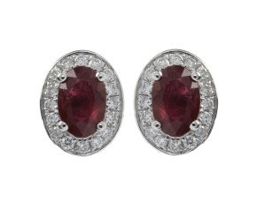 18ct White Gold 1.11ct Ruby & Diamond Earrings