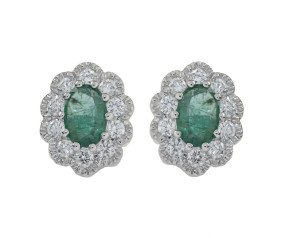 18ct White Gold 0.60ct Emerald & Diamond Cluster Earrings
