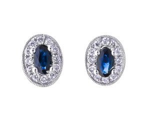 18ct White Gold 0.65ct Sapphire & Diamond Cluster Earrings