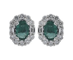 18ct White Gold 0.65ct Emerald & Diamond Cluster Earrings