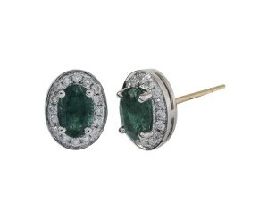 18ct White Gold 0.86ct Emerald & Diamond Cluster Earrings