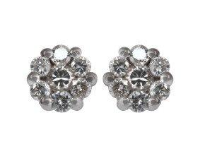 18ct White Gold 0.25ct Diamond Cluster Earrings