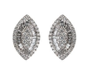 18ct White Gold 0.95ct Diamond Cluster Earrings
