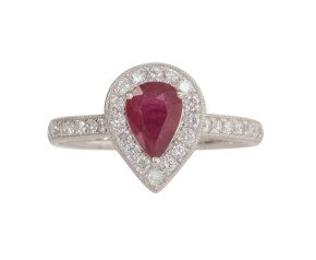 18ct White Gold 0.85ct Ruby & Diamond Halo Ring
