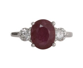 18ct White Gold 2.16ct Ruby & 0.55ct Diamond Trilogy Ring