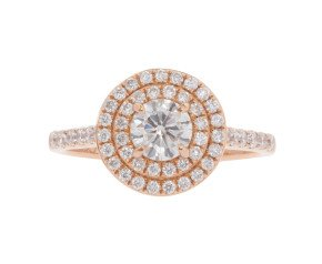 18ct Rose Gold 1.00ct Diamond Halo Dress Ring
