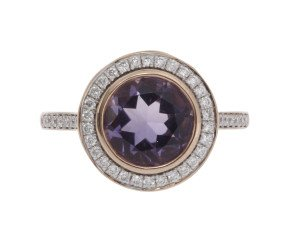 18ct Rose Gold 1.87ct Amethyst & Diamond Halo Ring
