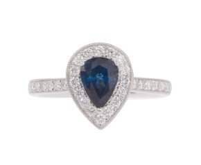 18ct White Gold 1.03ct Sapphire & Diamond Halo Ring