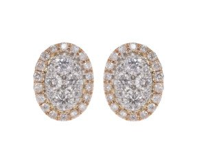 18ct Gold 0.50ct Diamond Cluster Earrings