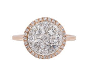18ct Rose Gold 1.15ct Diamond Cluster Ring