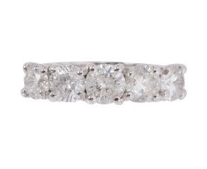 18ct White Gold 2.55ct Diamond Graduated Five Stone Ring
