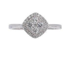 18ct White Gold 0.32ct Diamond Cluster Ring