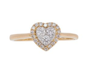 18ct Gold 0.23ct Diamond Heart Cluster Ring
