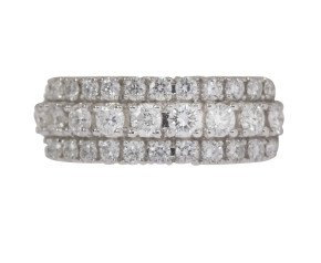 18ct White Gold 1.00ct Diamond Three Row Band