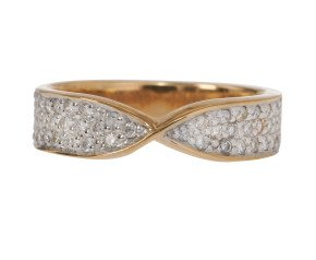 18ct Gold 0.36ct Diamond Pave Set Shaped Band