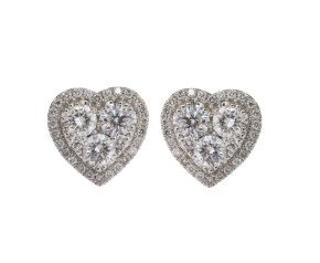 18ct White Gold 1.99ct Diamond Heart Cluster Earrings