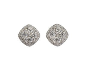 18ct White Gold 1.93ct Diamond Cluster Earrings