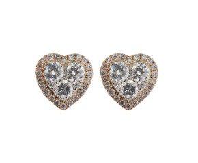 18ct Gold 0.85ct Diamond Heart Cluster Earrings