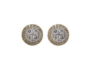 18ct Gold 0.51ct Diamond Cluster Earrings