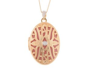 9ct Yellow Gold Intricate Oval & Diamond Locket
