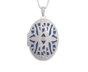Silver Diamond Accent Oval Locket