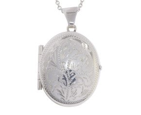 Sterling Silver Four Gallery Oval Locket