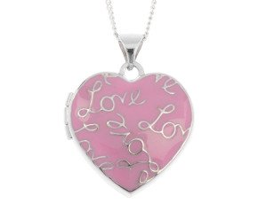 Sterling Silver Pink Enamel Love Heart Locket